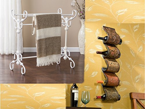 Southern Enterprises White Blanket Rack and Wall Mount Hand-Painted Finish Wine Rack Bundle Set