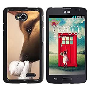 PC/Aluminum Funda Carcasa protectora para LG Optimus L70 / LS620 / D325 / MS323 Kitten Kiss Love Dog German Shepherd / JUSTGO PHONE PROTECTOR