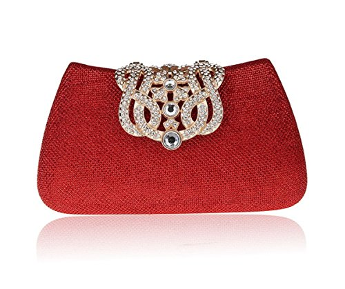 FZHLY Colored Cosmetic Shoulder Rhinestone Bag Red Women Portable Bag Bag Cross Clutch Multi Evening Style Fashionable Flash Dress wpF1xrwCq