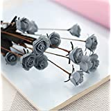 Interesting® 15 Multicolor Artificial Silk Flower PE Rose Flower Wedding Bouquet Bride Holding Garlands Vine DIY Floral Art Plant Bride Home Décor