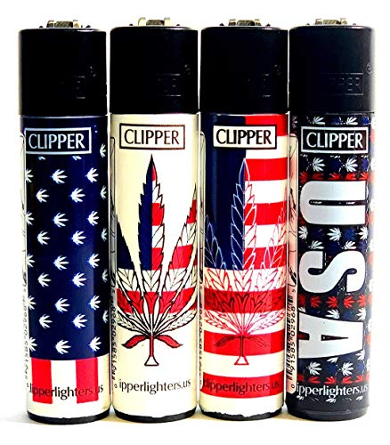 USA Clipper Lighters American Flag Marijuana Leaves 4 ()