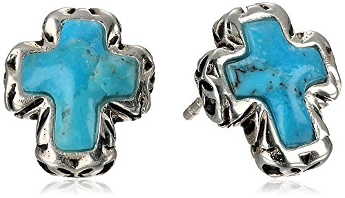"Barse ""Silhouette"" Sterling Silver Turquoise Post Cross Earrings"