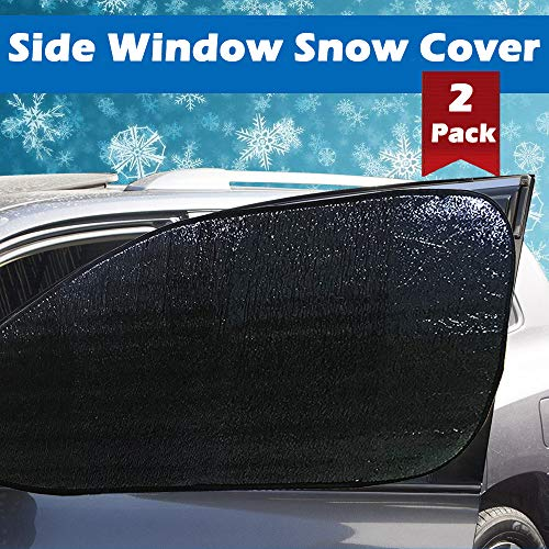 Big Ant Side Windsow Snow Cover, Ultra Thick Car Side Window Snow and Ice Cover 100% Waterproof Frost ice Protector for Cars Trucks Vans & SUVs (Black-2PCS)