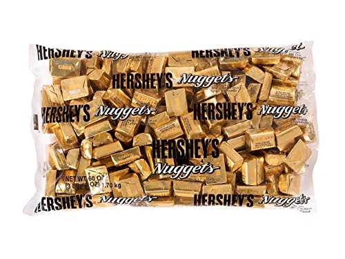HERSHEY'S Nuggets, Gluten-Free Extra Creamy Milk Chocolate Candy with Toffee and Almonds, 60 Ounce Bulk Bag