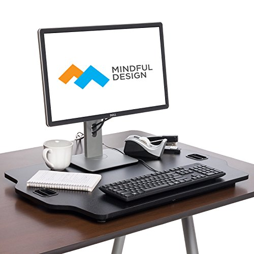 Ultra Slim Adjustable Standing Desk – Sit to Stand Elevating Desk Top Converter by Mindful Design Black