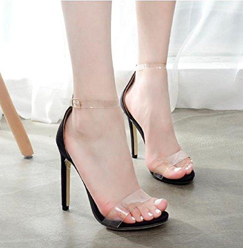 Chaussures Été Aiguille Fille d'été Couleur Noire Femme Sandales Band Bracelet Élégant Confortable Convient Saison et Printemps Transparent Talon Sexy rfSrvUwq