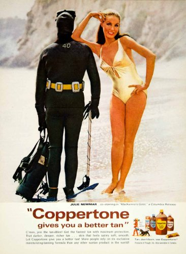 1968 Ad Coppertone Suntan Lotion Julie Newmar Actress Scuba Diver Sun Tanning - Original Print Ad
