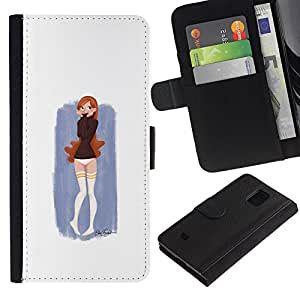 All Phone Most Case / Oferta Especial Cáscara Funda de cuero Monedero Cubierta de proteccion Caso / Wallet Case for Samsung Galaxy S5 Mini, SM-G800 // Cute Girl Painting
