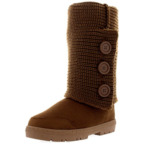 Button Knitted Womens Boots Snow Flat Winter 3 Cardy Tan Rain Knitted wqCC1U5