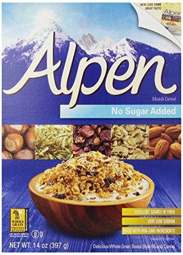 - Alpen Cereal, No Sugar Added, 14 Ounce