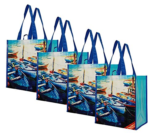 Earthwise Reusable Grocery Bags Shopping Tote Summer Boats Print ( Set of 4 )