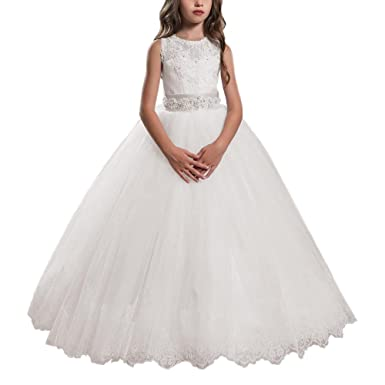 071646ccaa3 Lovely Flower Girl Dress For Wedding Kids Lace Pageant Ball Gowns Ivory  Size 2