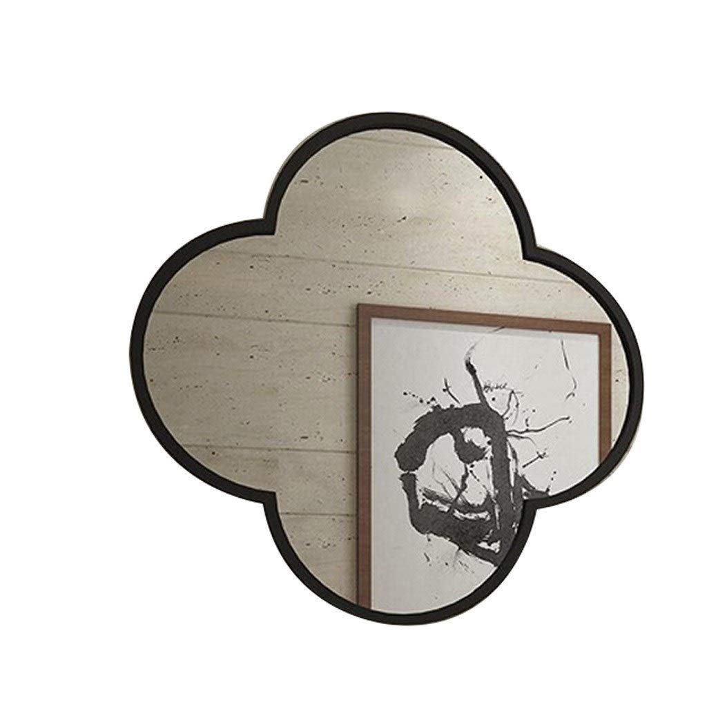 Beauty mirror Hanging Wall Mirror Gold, Metal Framed Wall Mounted Irregular Mirror- Bathroom Living Room Dressing Table Barbershop Decorative Mirror Dressing mirror (Color : Black, Size : 40cm) by Makeup Mirrors