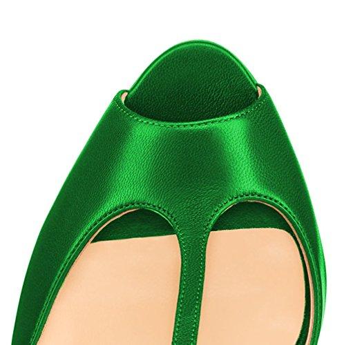 MONICOCO Damenschuhe Peep-Toe T-Spangen Sandalen für Party Club Grün PU