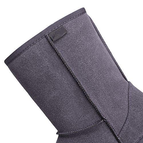 Mujer Para Aimado Nieve Invierno Rain Botas Gris De Con Calientes Zapatos La Piel Antideslizante Suela xwgw7qpRt