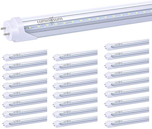 LUMINOSUM LED T8 Light Tube 4 Foot 20W (40W Equivalent) Dual-Ended Powered G13 Clear Cover Daylight 5500-6000, ETL Listed, 25-Pack