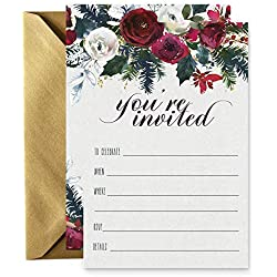 15 Winter Floral Invitations with Gold Envelopes for Christmas Party, Baby Shower, Wedding