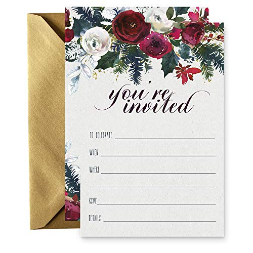 15 Winter Floral Invitations with Gold Envelopes for Christmas Party, Baby Shower, -