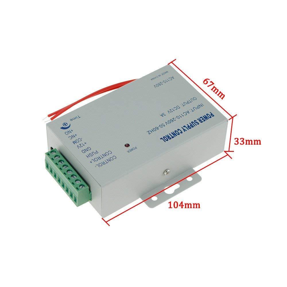 YAVIS 125KHz biom/étrico RFID Controlador de acceso de la huella dactilar del Kit de sistema del control de acceso de la puerta Fuente de alimentaci/ón de 180kg 350lbs Cerradura Magn/ética El/éctrica
