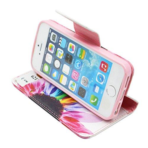Pour Apple Iphone 5 5S Etui Housse, LEMORRY Personnalité Mode Fleur Premium PU Cuir Card Slot Pochette Holster Flip Magnétique Strap Stand Protecteur Coque Case