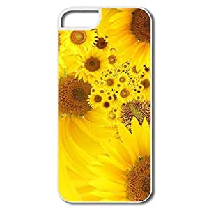 IPhone 5 5S Cases, Yellow Sunflowers Cases For IPhone 5 - White Hard Plastic