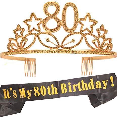 80th Birthday Gold Tiara and Sash Glitter Satin Sash and Crystal Rhinestone Tiar