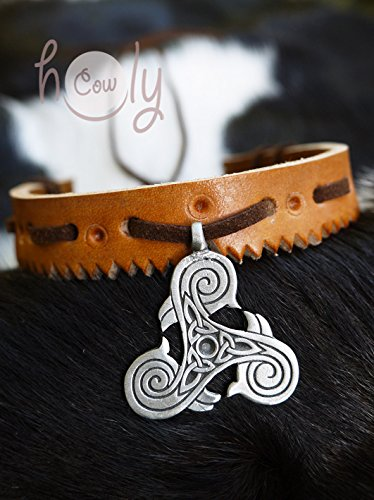 Handmade Leather Collar Medieval Celtic Spiral Pendant