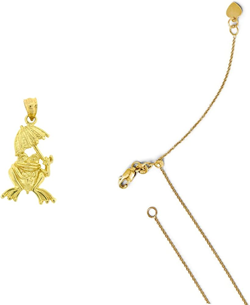 14K Yellow Gold Frog with umbrella Pendant on an Adjustable 14K Yellow Gold Chain Necklace