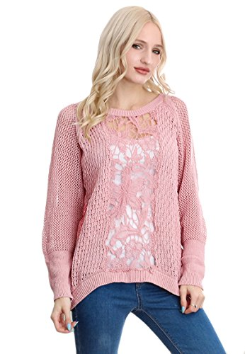 poof-womens-pink-floral-crochet-design-and-knitted-sweater-x-small