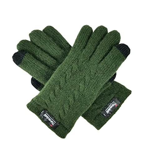 - Bruceriver Ladie's Pure Wool Knit Gloves with Thinsulate Lining and Cable design Size S (Green Touchscreen)
