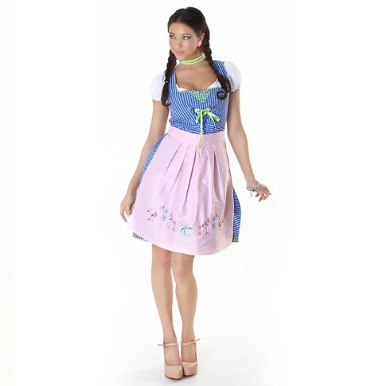 Komplettes Oktoberfest-Outfit: Dirndl, Bluse, Uni-Schürze + Ersatzschürze Gratis (Gr. 44, blau-rosa-grün)