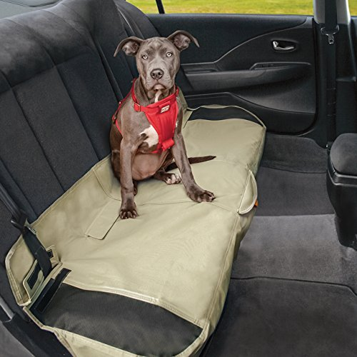 Kurgo Dog Seat Cover | Car Bench Seat Covers for Pets | Dog Back Seat Cover Protector | Water Resistant for Dogs | Contains Seat Anchors | Scratch Proof | Cars | Shorty Bench Seat Cover Style | 53 Inches | Hampton Sand Khaki