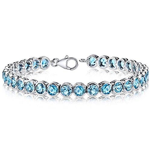 19 Carats Swiss Blue Topaz Tennis Bracelet Sterling Silver Rhodium Nickel Finish Bezel Set