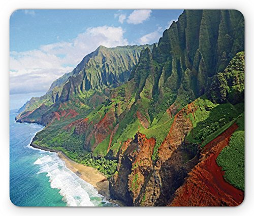 - Ambesonne Hawaiian Mouse Pad, Na Pali Coast Kauai Hawaii Seashore Greenery Adventurous Journey Landscape, Rectangle Non-Slip Rubber Mousepad, Standard Size, Green Redwood Blue