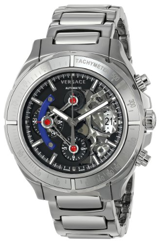 Versace Men's VK8010013 DV ONE Skeleton Self-Wind Silver-Tone Watch