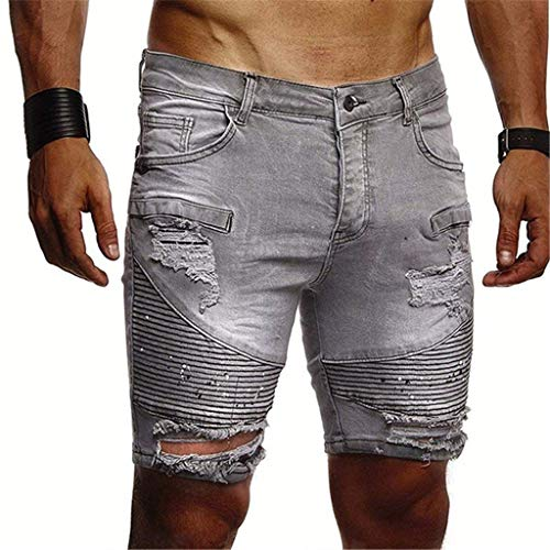 Men's Hole Fold Jeans, Mmnote Classic Relaxed Fit Performance Comfort Flex Original Fashion Shorts,Gray