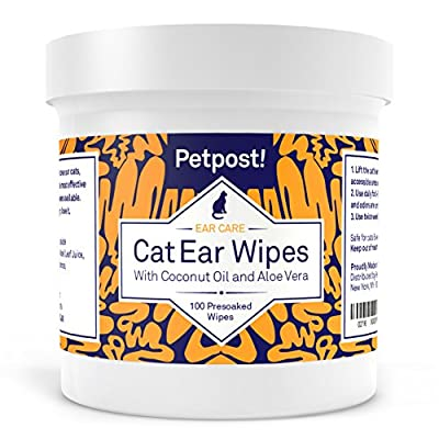 Petpost | Dog and Cat Ear Cleaner Wipes - 100 Ultra Soft Cotton Pads in Coconut Oil Solution - Treatment for Pet Ear Mites & Pet Ear Infections by Petpost