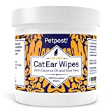 Petpost | Cat Ear Cleaner Wipes - 100 Ultra Soft Cotton Pads in Coconut Oil Solution - Treatment for Odor Cat Ear Mites & Cat Ear Infections