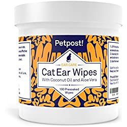 Petpost | Cat Ear Cleaner Wipes - 100 Ultra Soft Cotton Pads in Coconut Oil Solution - Treatment for Pet Ear Mites & Pet Ear Infections (Cat Ear Wipes, Pack of 1)