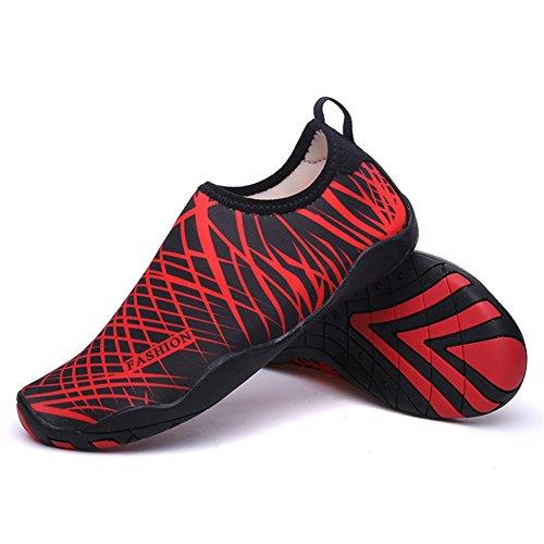 Scarpe acquatico sport Surf Nuotare Spiaggia traspirante Uomo calzini Aqua Donna per Yoga Shoes Red Antiscivolo Immersione HN qKR6nOct7y
