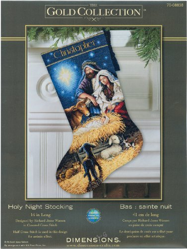 Gold Collection Holy Night Stocking Counted Cross Stitch Kit-16