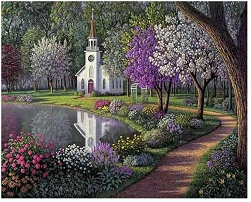 Oil Paint Adult Hand Painted Kits Paint DIY Painting By Numbers-Hyde Purple Park 16