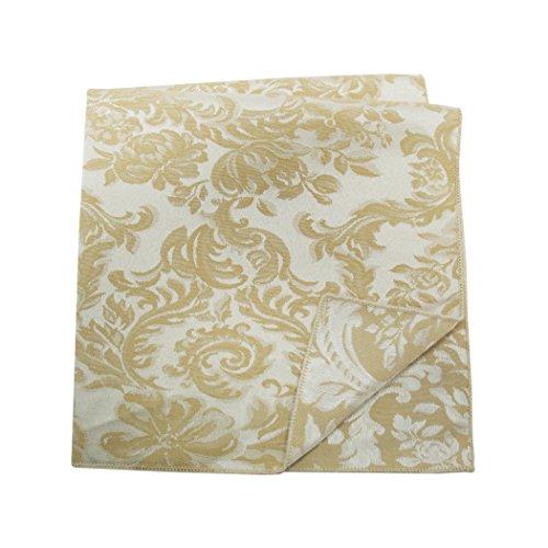 Ultimate Textile -1 Dozen- Miranda 10 x 10-Inch Damask Cloth Cocktail Napkins Champagne Ivory ()