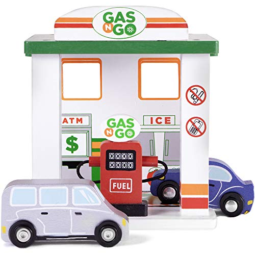 - Imagination Generation Gas 'n Go Service Station | Wooden Drive-Thru Fuel Pump Children's Toy Playset with 2 Cars