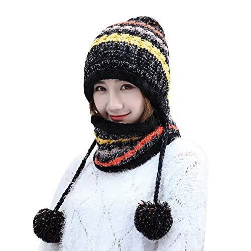 (Cute Striped Knitted Crochet Beanie Hat with Earflap Pom Women Warm Ski Hat (Black))