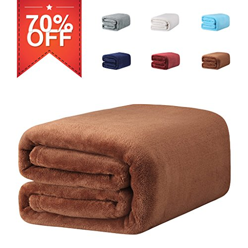 LANGRIA Brown Throw Blanket for Home Couch Outdoor Travel,Fuzzy Blanket with 100% Soft Premium Flannel Polyester,Wrinkle Resistant, Anti-Fade, 60''x80'' (Target Outdoor Blanket)