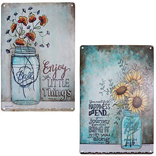 TISOSO Two Glass Bottle Floral Sunflowers Poppies Metal Tin Sign Wall Art Decor
