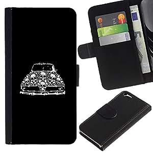 KingStore / Leather Etui en cuir / Apple Iphone 6 / Retro coche del músculo del vintage Cráneo Negro