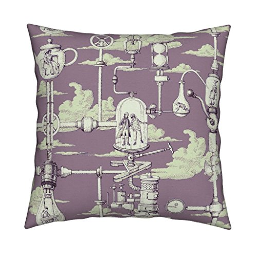 Roostery Eclectic Steampunk Toile Purple Green Cloud Eco Canvas Throw Pillow Apnea_City_Purple by Chicca Besso Cover and Insert Included