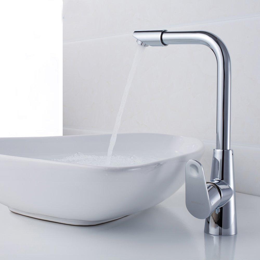IJIAHOMIE Waschtischarmatur Badarmatur Wasserhahn Bad,Wassersparfunktion,Wasserfall Wasserhahn Kupfer, Küche, heiß und Kalt, drehend, einzelner Griff, einzelnes Loch
